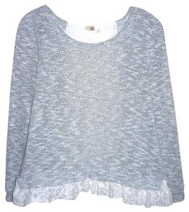 Anthropologie Lace Bird Cage Knit Multi Color Top Gray/White