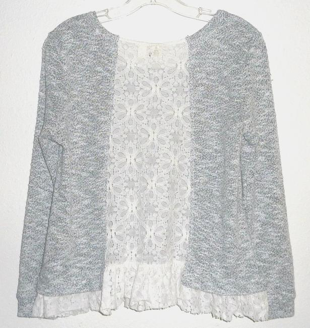 Anthropologie Lace Bird Cage Knit Multi Color Top Gray/White Image 1