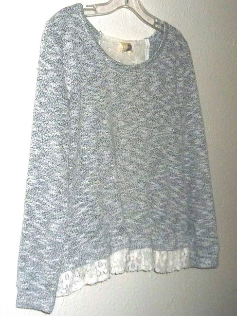 Anthropologie Lace Bird Cage Knit Multi Color Top Gray/White Image 2