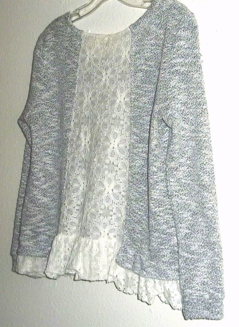 Anthropologie Lace Bird Cage Knit Multi Color Top Gray/White Image 3