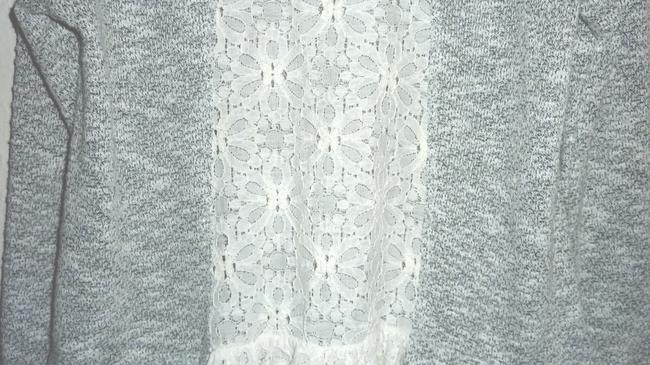 Anthropologie Lace Bird Cage Knit Multi Color Top Gray/White Image 5