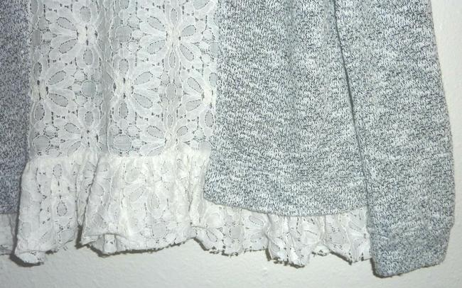 Anthropologie Lace Bird Cage Knit Multi Color Top Gray/White Image 6