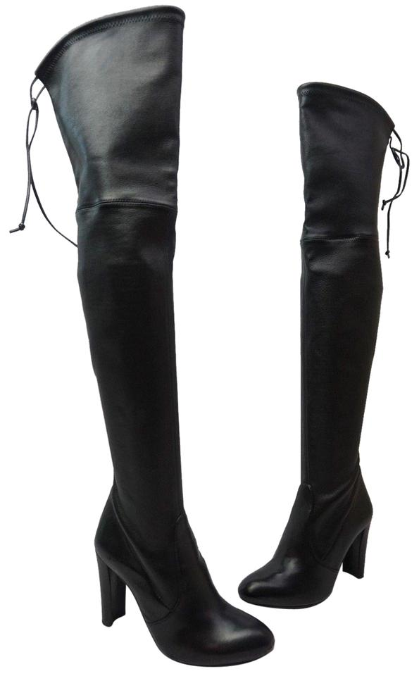 Stuart Weitzman Black Highland Over The Boots/Booties Knee Nero Plunge Leather Boots/Booties The 688304