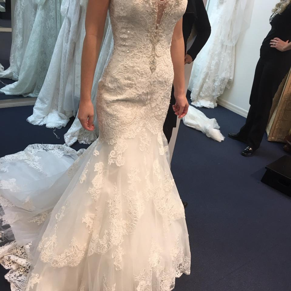 Allure Bridals Ivory Silver Style 9376 Sexy Wedding Dress Size 6 S