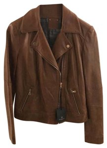 Massimo Dutti Leather Brown Leather Jacket