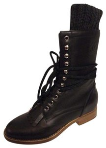 Chanel Cc Sock Lace Up Black Boots