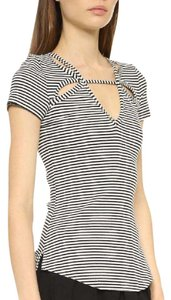 Free People Tee Shirt Top Black and White