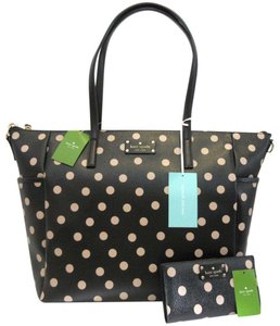 Kate Spade Black, Dark Beige, Gold Diaper Bag