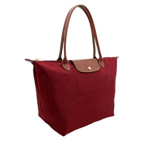 Longchamp Medium Nylon Red Tote in Deep red
