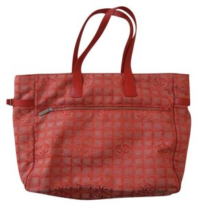 Chanel Tote Beach Canvas Cclogo Red Beach Bag