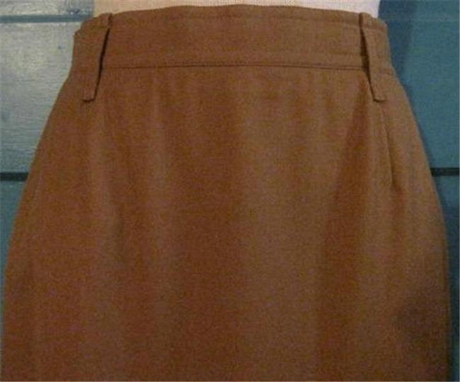 Karl Lagerfeld Flat Front/Back Zip Hits Below The Knee Cashmere/Wool Blend Mint Appears Unworn Perfect Separate Maxi Skirt camel Image 2