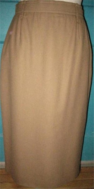 Karl Lagerfeld Flat Front/Back Zip Hits Below The Knee Cashmere/Wool Blend Mint Appears Unworn Perfect Separate Maxi Skirt camel Image 4