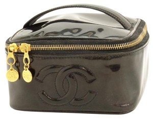 Chanel Auth. CHANEL Black Patent Leather Cosmetic Vanity Pouch Hand Bag. Gold