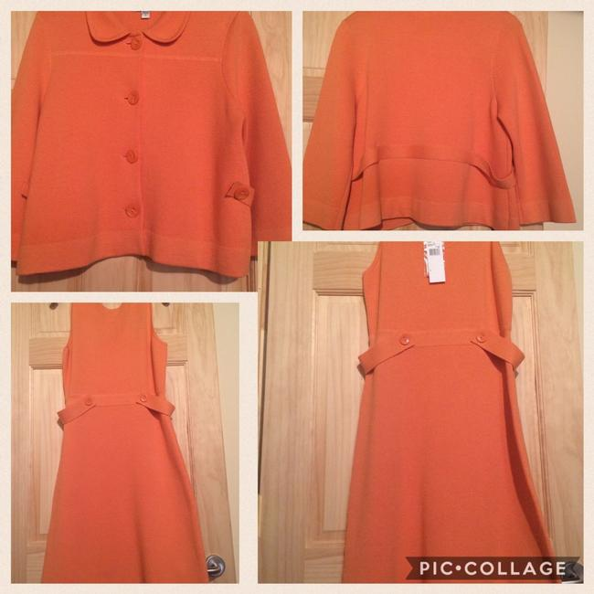 Austin Reed Soft Orange Sleeveless Shift And Jacket Knit Set Mid Length Casual Maxi Dress Size 14 L Tradesy