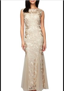 Alex Evenings Champagne Floral Soutache Gown Dress