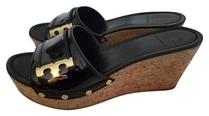 Tory Burch Sandals Leather Black Wedges