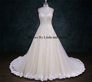 A-line Heavily Beaded Lace Appliques Scalloped Sweetheart Neckline Wedding Dress