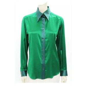 Dolce&Gabbana Silk Sale Button Down Shirt Emerald Green