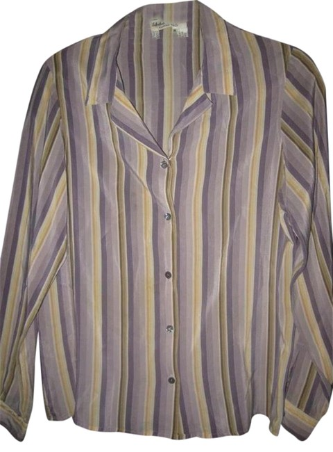 Item - Striped Shades Of Purple and Gold Silk Designer Tops/Designer Clothes Button-down Top Size 8 (M)