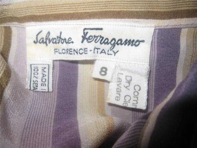 Salvatore Ferragamo Mint Vintage Style French Cuffs Mod 1960's Style Great Coordinate Button Down Shirt striped shades of purple and gold silk Image 1