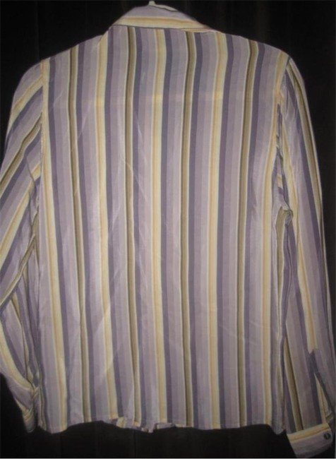 Salvatore Ferragamo Mint Vintage Style French Cuffs Mod 1960's Style Great Coordinate Button Down Shirt striped shades of purple and gold silk Image 2