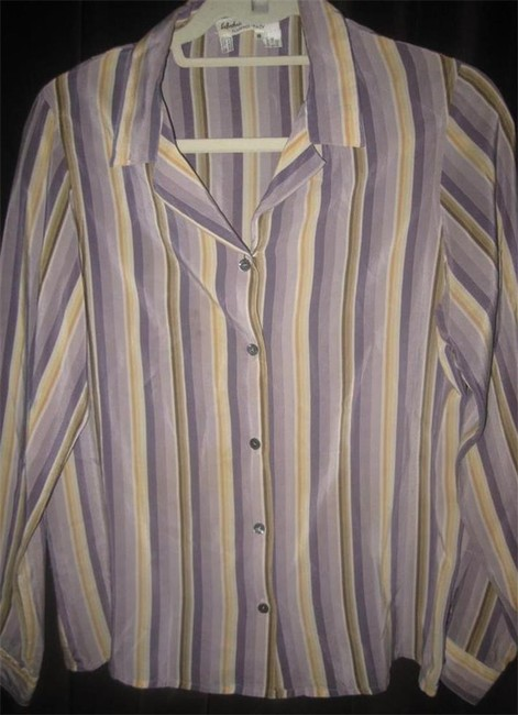 Salvatore Ferragamo Mint Vintage Style French Cuffs Mod 1960's Style Great Coordinate Button Down Shirt striped shades of purple and gold silk Image 3