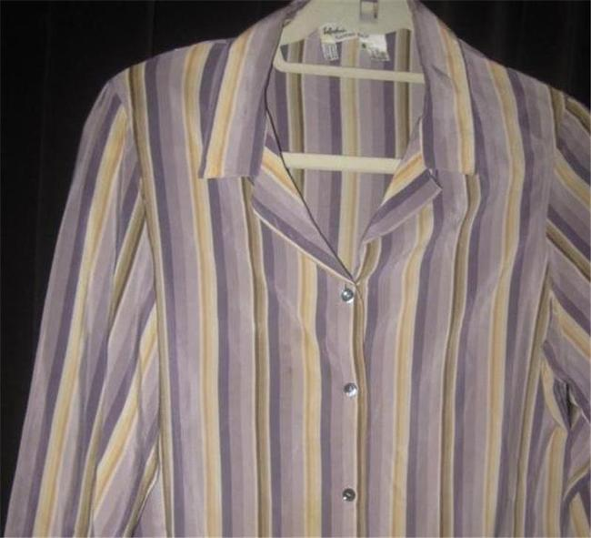 Salvatore Ferragamo Mint Vintage Style French Cuffs Mod 1960's Style Great Coordinate Button Down Shirt striped shades of purple and gold silk Image 4