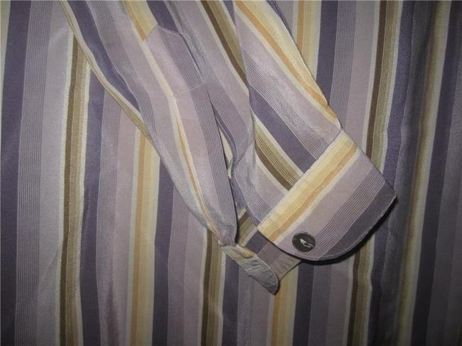 Salvatore Ferragamo Mint Vintage Style French Cuffs Mod 1960's Style Great Coordinate Button Down Shirt striped shades of purple and gold silk Image 5