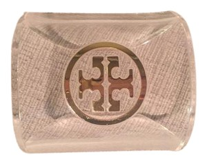 Tory Burch Tory Burch Clear Gold Logo Cuff Bracelet