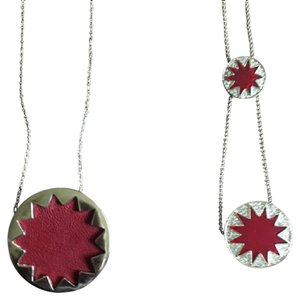 House of Harlow 1960 House of Harlow 1960 Sunburst Maroon Gold Pendant Necklace