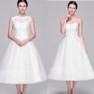 White Tea Length With Illusion Neckline Wedding Dress