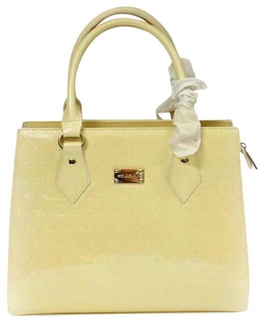 Item - Opal Logo Embossed Gold Tote Tote Yellow Leather Satchel
