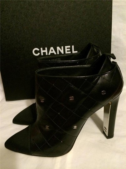 Chanel Cc Quilted Black Boots Image 1