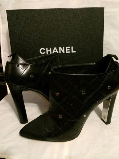 Chanel Cc Quilted Black Boots Image 2