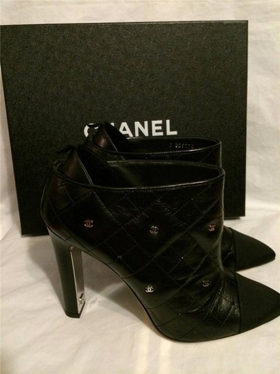 Chanel Cc Quilted Black Boots Image 5