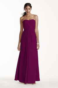 David's Bridal Sangria David's Bridal Long Strapless Chiffon Dress F15555 Dress