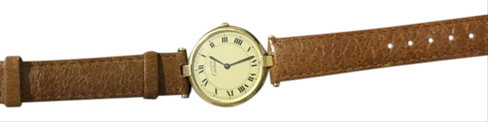 b14737db Cartier Gold and Brown Vintage Women's Watch