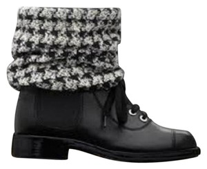 Chanel Sock Combat Check Black Boots