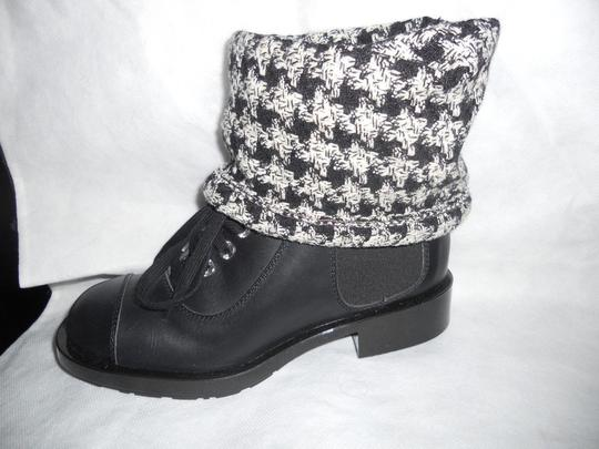 Chanel Sock Combat Check Black Boots Image 11