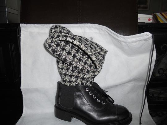 Chanel Sock Combat Check Black Boots Image 8