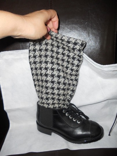 Chanel Sock Combat Check Black Boots Image 9