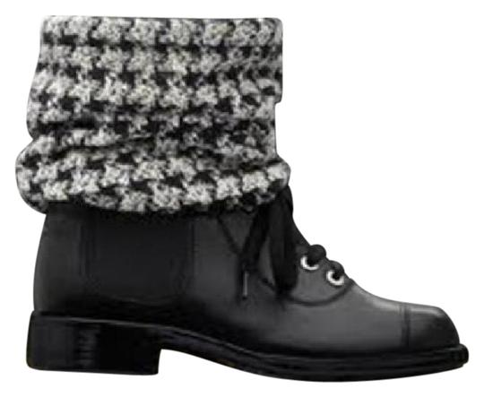 Chanel Black Combat Lace Up Check Tweed