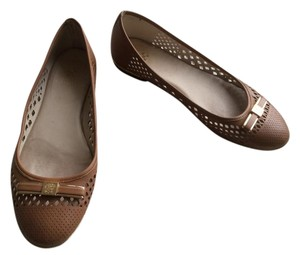 Vince Camuto Leather Cutout Bow Brown Flats