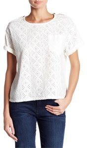 Current/Elliott Top dirty white eyelet