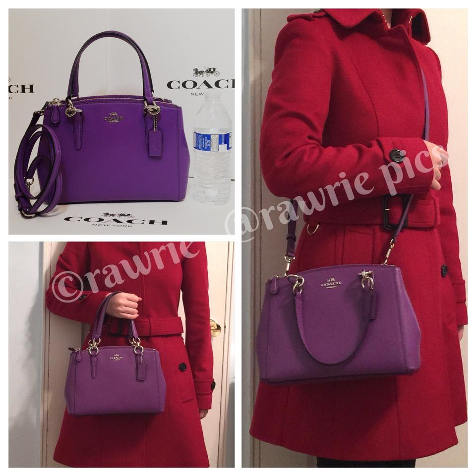 339f27a9a ... wholesale coach convertible shoulder strap christie satchel double zip  tote in purple 35aa3 730af