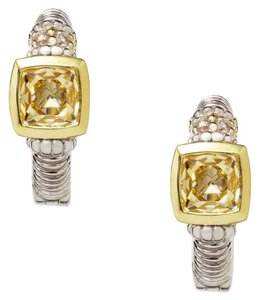 Judith Ripka two tone canary crystal hoop ear ring