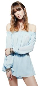 Free People Summer Set Off The Bohemian Top Baby Blue