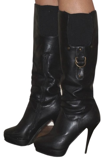 Other Belted Leather Leather Stiletto High Heeled Leather Black Boots