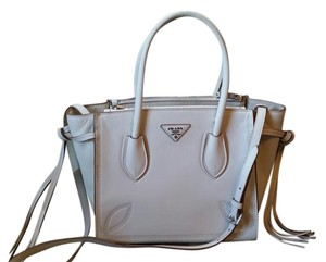 Prada Leather Tassels Embroidered Silver Tote in Eggshell White
