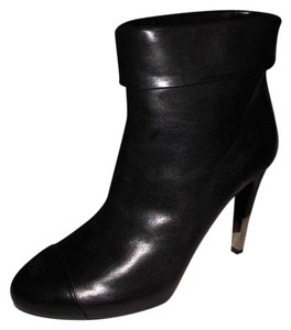 Chanel Cap Toe Cuffed Metal Heel Black Boots